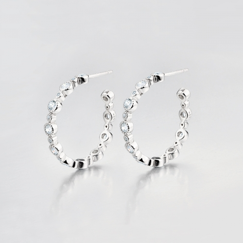 925 sterling silver round cubic zirconia open ring hoop earrings