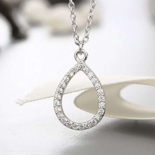 925 sterling silver waterdrop cz stones pendant necklaces
