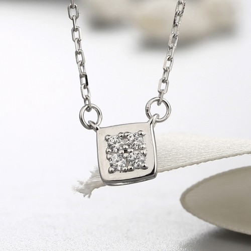 925 sterling silver cubic square cz stones necklaces