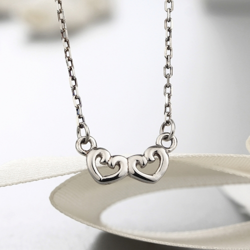 925 sterling silver double heart pendants necklaces