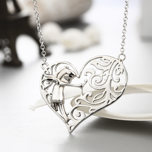 925 sterling silver fairy hollow heart necklaces