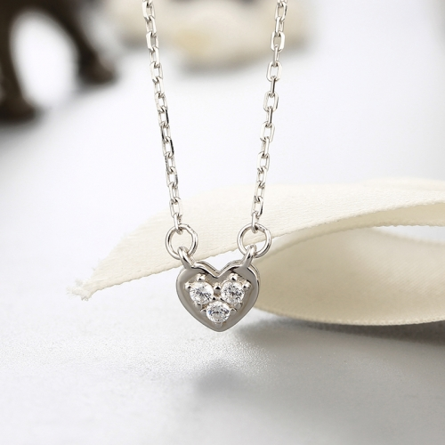 925 sterling silver cz stones heart pendants necklaces