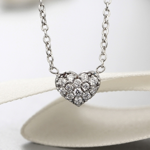 925 sterling silver heart cz stones pendants necklaces