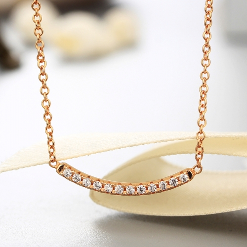 925 sterling silver bending string cz stones necklaces