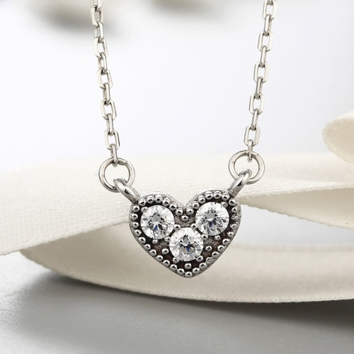 925 sterling silver delicate heart cz stones pendants necklaces