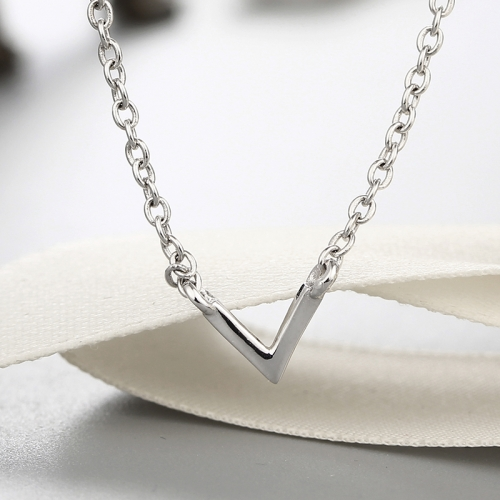 925 sterling silver solid letter V pendants necklaces