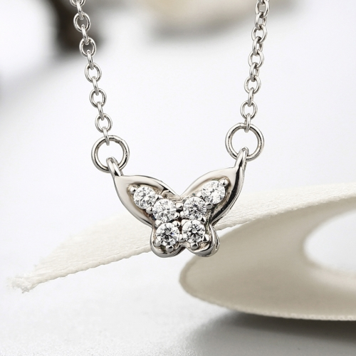 925 sterling silver butterfly cz stones necklaces