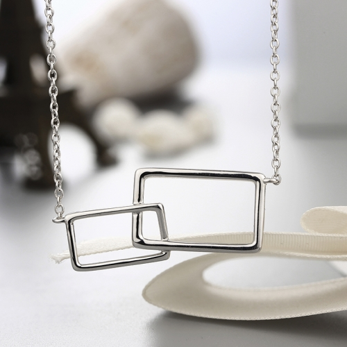 925 sterling silver two hollow squares shape pendants necklaces