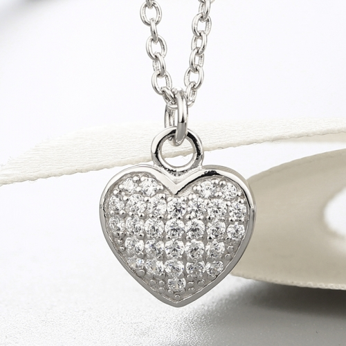 925 sterling silver cz stones heart pendant necklaces