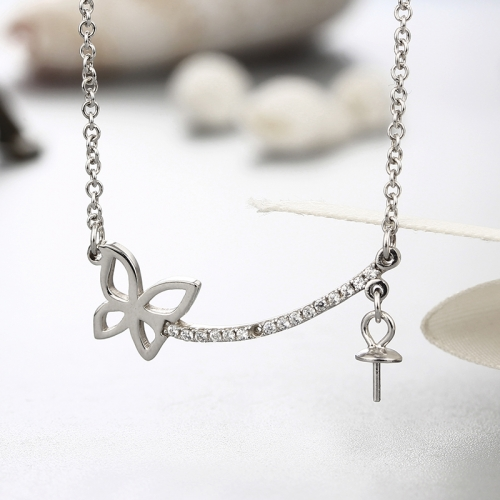 925 sterling silver cz stones butterfly pendant necklaces
