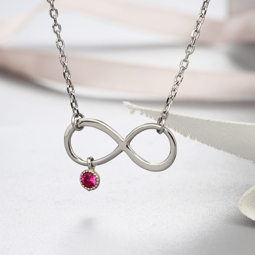 925 sterling silver red cz stone infinity necklaces