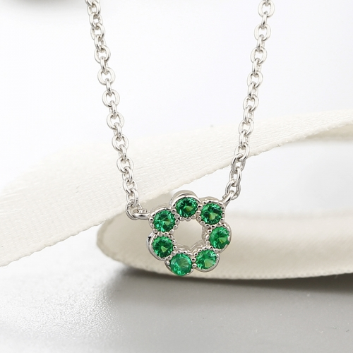 925 sterling silver cz stones flower charm necklaces