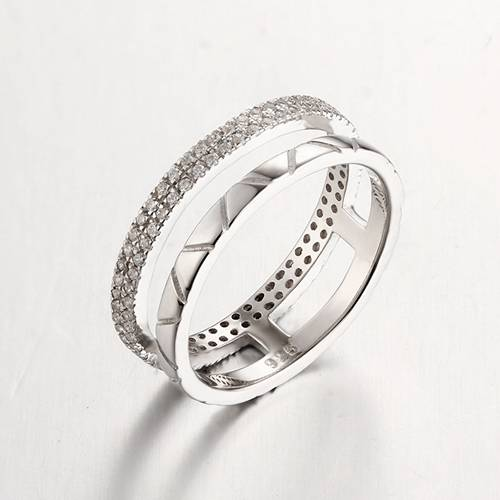 925 sterling silver cubic zirconia two rows rings