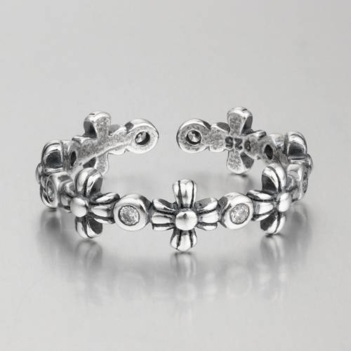Oxidized 925 sterling silver flower open rings for girls