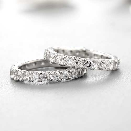 925 sterling silver cubic zirconia paves couple rings
