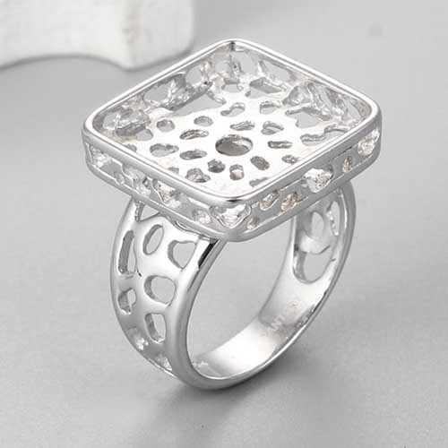 925 sterling silver square bezel hollow ring mountings