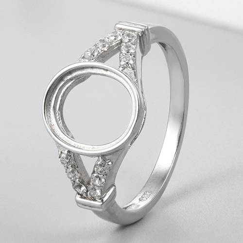 925 sterling silver round stone ring mountings
