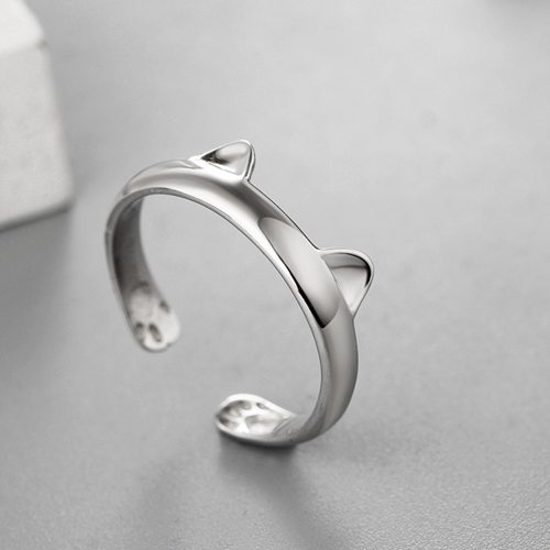 Fashion 925 sterling silver cute cat ears open rings