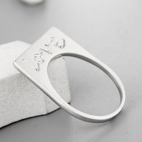 925 sterling silver brushed letter LOVE right angle rings