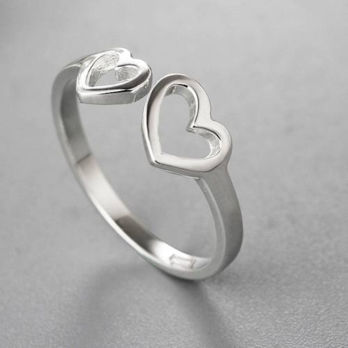 Fashion 925 sterling silver hollow hearts open rings