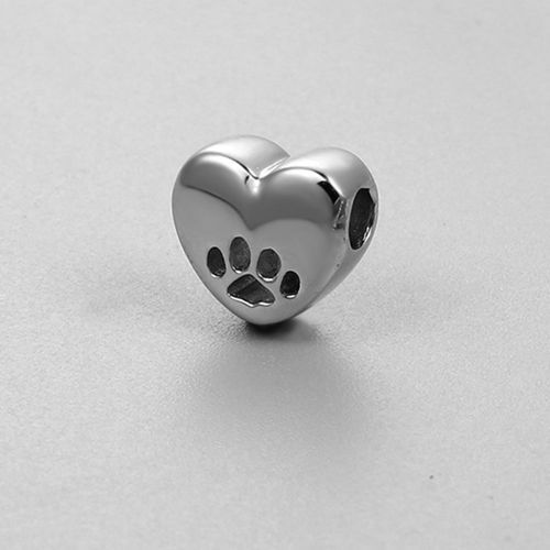 925 sterling silver dog paw heart beads