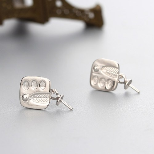 925 sterling silver stamp pattern pearl earring findings