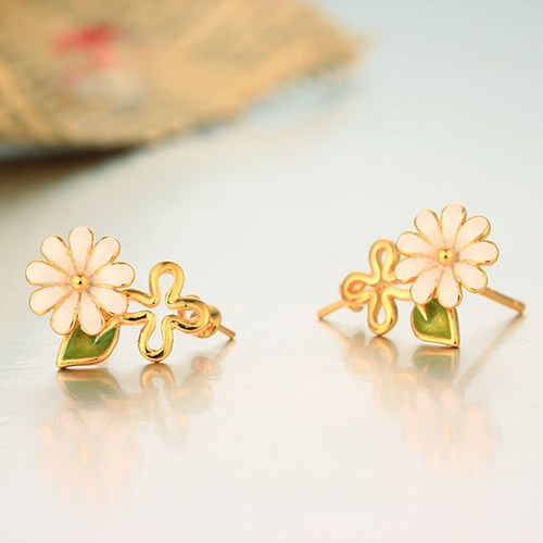 925 sterling silver enamel flower pearl earring findings