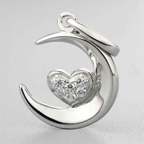 925 sterling silver cubic zirconia heart moon pendants
