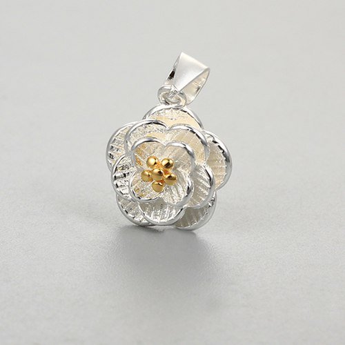 925 sterling silver two-tone Camellia flower pendants