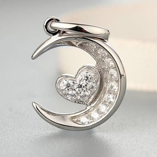 925 sterling silver cubic zirconia heart pendants