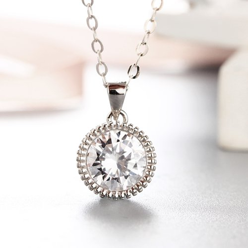 925 sterling silver elegant round cz stones pendants