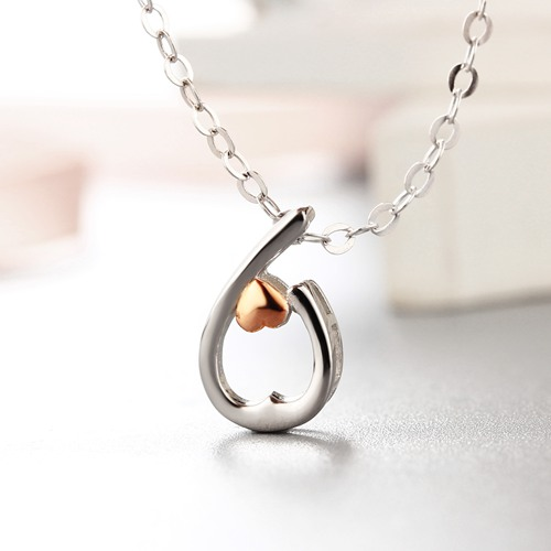 925 sterling silver hollow waterdrop small heart pendants