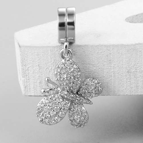 925 sterling silver cz butterfly charm dangle charm