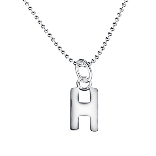 925 sterling silver letter H pendant necklaces