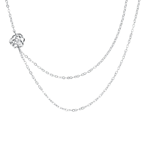 925 sterling silver hollow rose charm lariat necklaces