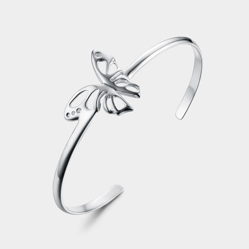 925 sterling silver big bow open bangles