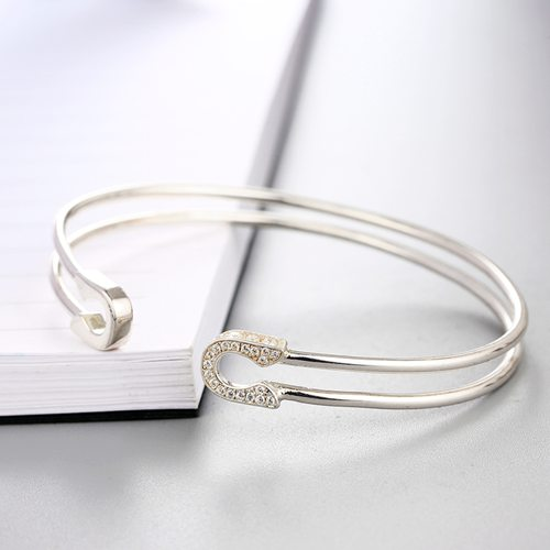 925 sterling silver two rows U shaped open bangles