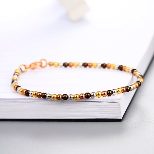 925 sterling silver three colors smooth beads bracelets