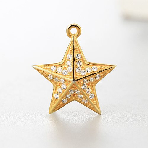 925 sterling silver cubic zirconia star charms