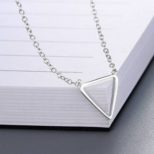 925 sterling silver minimalist triangle necklaces