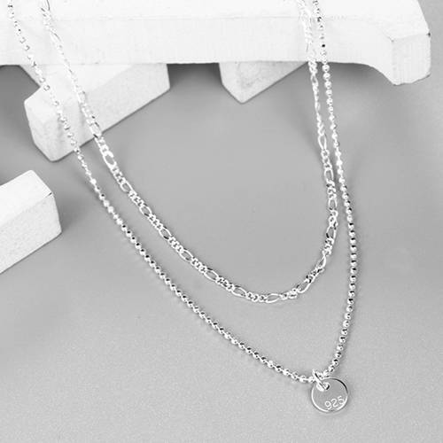 925 sterling silver double layer choker necklace