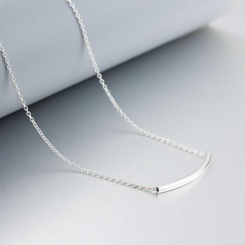 Minimalist 925 sterling silver curved tube necklaces