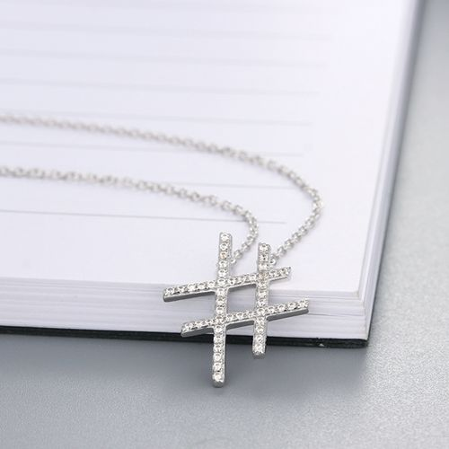 925 sterling silver cubic zirconia pound sign charm necklaces