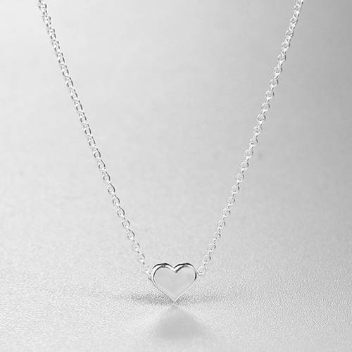 925 sterling silver simple heart necklace