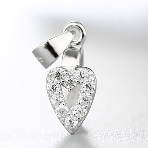925 sterling silver cz stone hollow heart crystal pendant clasp