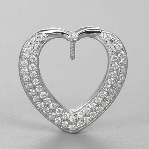 925 sterling silver heart pearl pendant findings