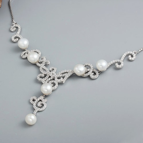 925 sterling cz pearl wedding statement necklace