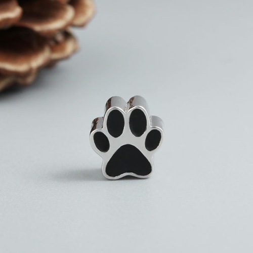 925 sterling silver cute dog paw enamel charm beads