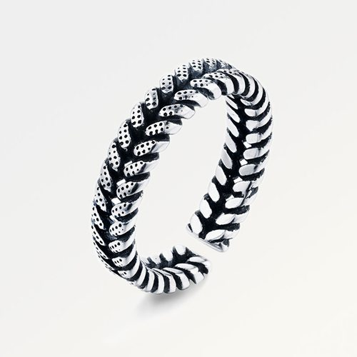 Oxidized 925 sterling silver screw ring