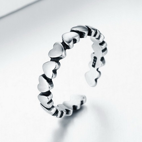Oxidized 925 silver heart link open ring